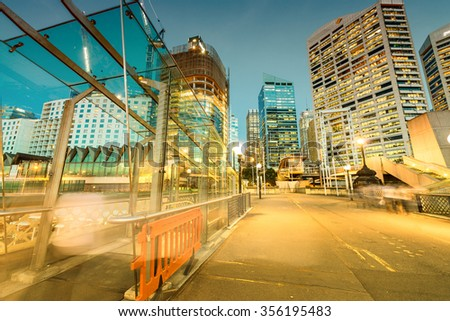 Darling Harbour, Sydney. Buildings and skyline at night. - stock photo