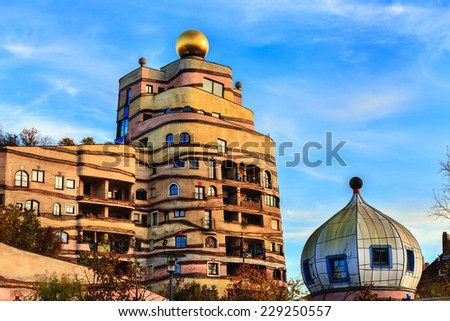 DARMSTADT, GERMANY - NOVEMBER 08: The view of Hundertwasser house in Darmstadt, Germany , in November 08, 2014. - stock photo