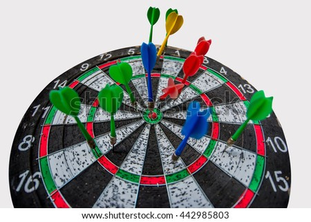 dart game on isolated white with path - stock photo