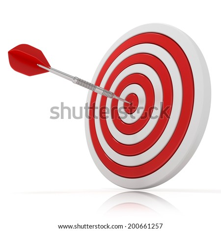 Dart hitting a target, 3d model Isolated on white background, side view - stock photo
