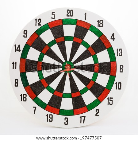 Dart Hitting A Target, Isolated On White Background - stock photo