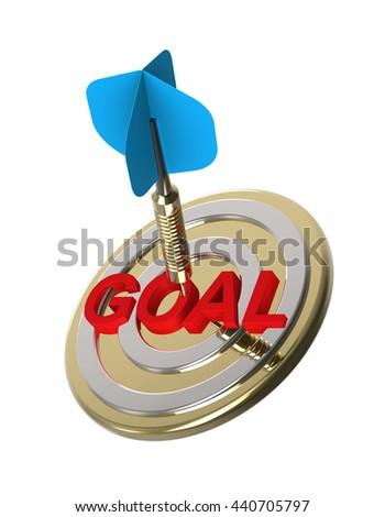 Dart hitting target. Hiting target goal concept. 3D illustration. - stock photo