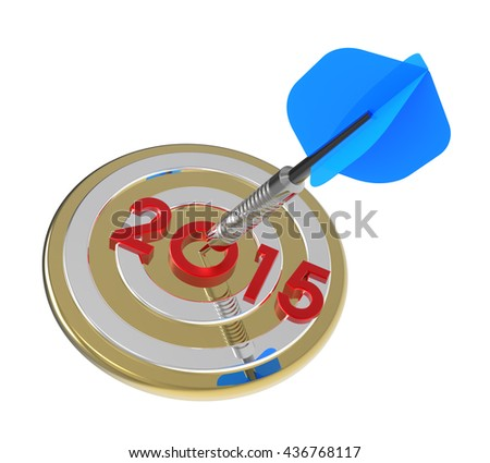 Dart hitting target - New Year 2015. 3D illustration. - stock photo