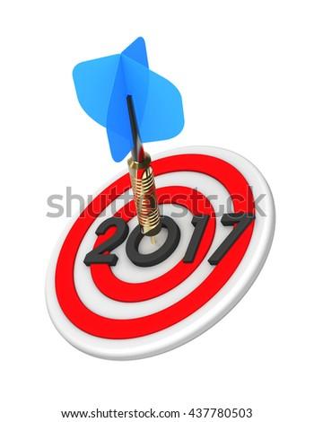 Dart hitting target - New Year 2016. 3D illustration. - stock photo