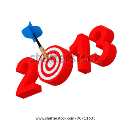 Dart hitting target - New Year 2013 isolated on white. Computer generated 3D photo rendering. - stock photo