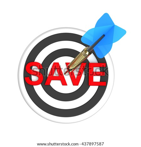 Dart hitting target. The concept of saving money. 3D illustration. - stock photo