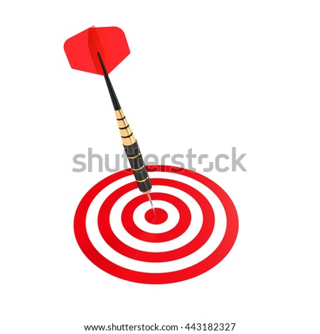 Dart hitting the center aim mark on target. Successful shoot. 3d rendering isolated illustration - stock photo