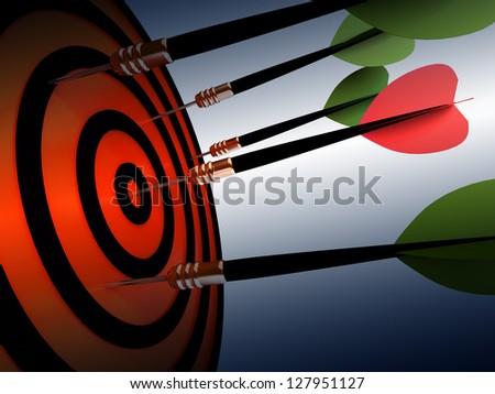 Dart hitting the target - stock photo