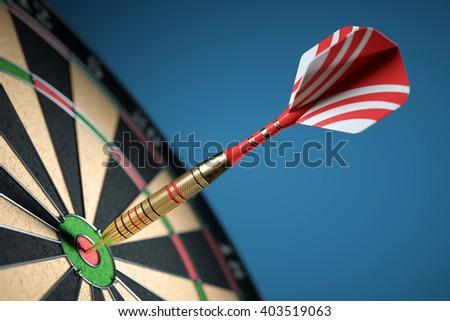 Dart in center of the target dartboard. Closeup. 3d illustration - stock photo
