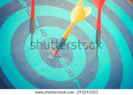 Dart is an opportunity and Dartboard is the target and goa with vintage retro picture stylel. success/fail business concept - stock photo