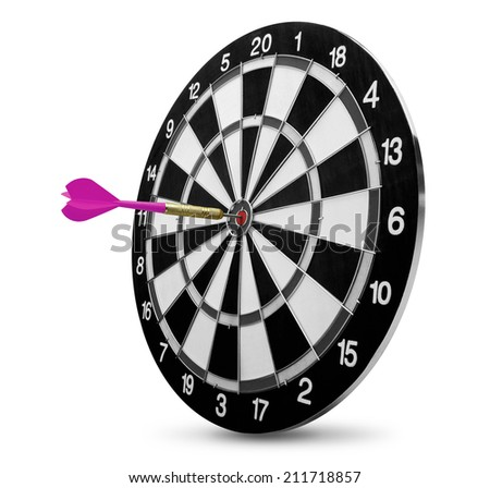 dart on target isolated on white - stock photo