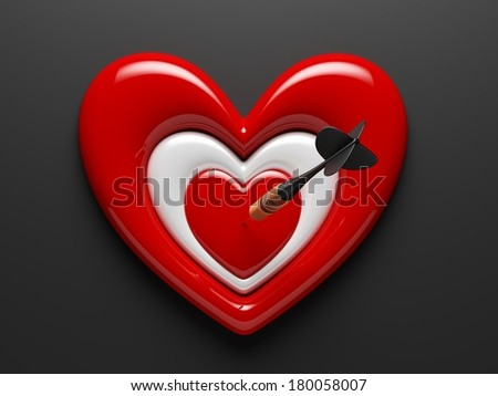 Dart with Heart Icon isolated on black - stock photo