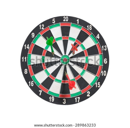 dartboard and arrows with missed target, isolated on white background - stock photo
