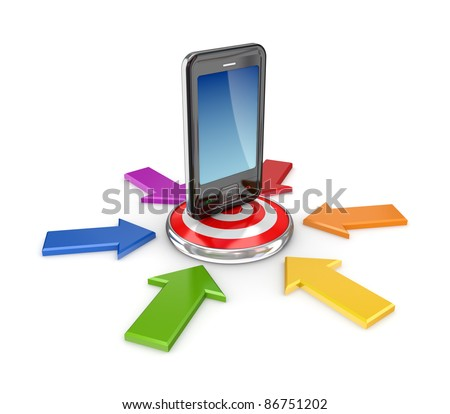 Dartboard and mobile phone.Isolated on white background.3d rendered. - stock photo