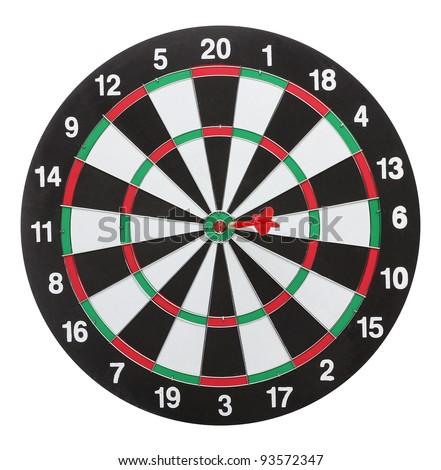 Dartboard bulls eye. Isolated on white background - stock photo