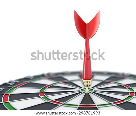 Dartboard close-up with a dart at a target on a white background. 3d illustration. - stock photo