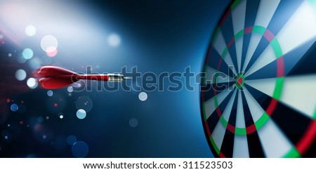 dartboard with arrow about hit - stock photo