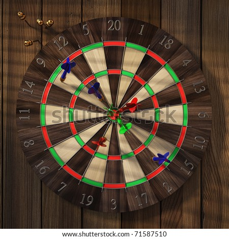 Dartboard with darts hanging on old wooden wall. - stock photo
