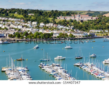 Dartmouth Devon and boats and yachts on Dart river with blue sky on summer day - stock photo