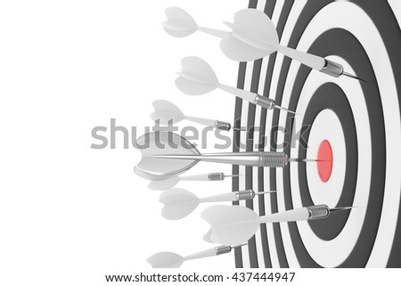 Darts board with red center and silver arrow on white background. 3D rendering. - stock photo
