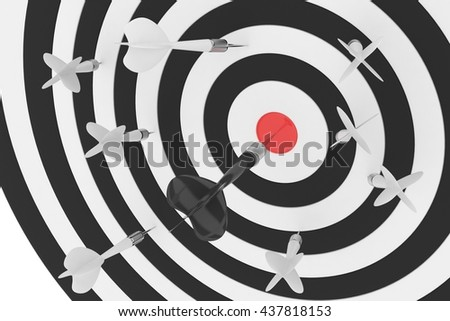 Darts board with red center on white background. 3D rendering. - stock photo