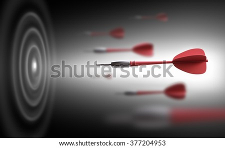 darts flying to the target - stock photo