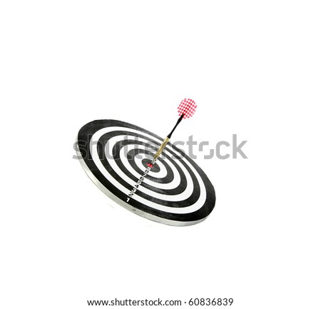 darts on a dart board game. isolated on white - stock photo
