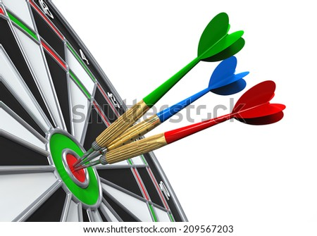 Darts on Target Close-up - stock photo