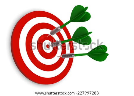 Darts on Target isolated on white background - stock photo