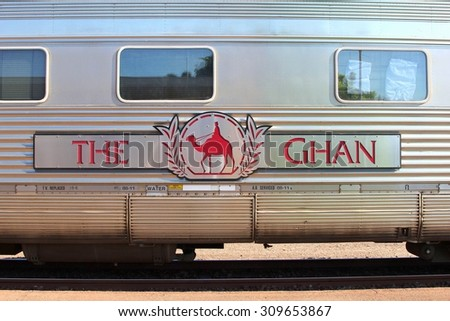 DARWIN, AUSTRALIA - March 20. Logo of The Ghan long distance train which connects Darwin, Katherine, Alice Springs and Adelaide through the Australian Outback on March 20, 2013 in Darwin. - stock photo