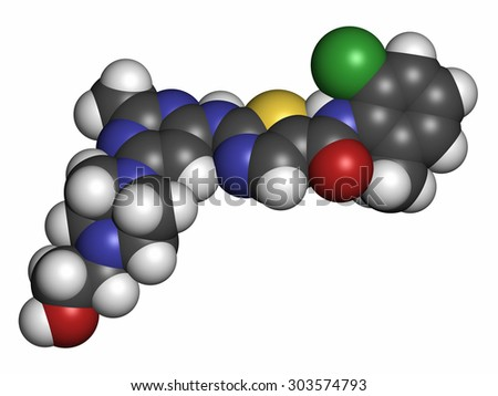 Dasatinib cancer drug molecule. Atoms are represented as spheres with conventional color coding: hydrogen (white), carbon (grey), oxygen (red), nitrogen (blue), sulfur (yellow), chlorine (green). - stock photo
