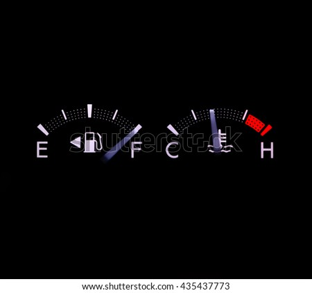 dashboard gasoline indicator in car shows full tank on black background - stock photo