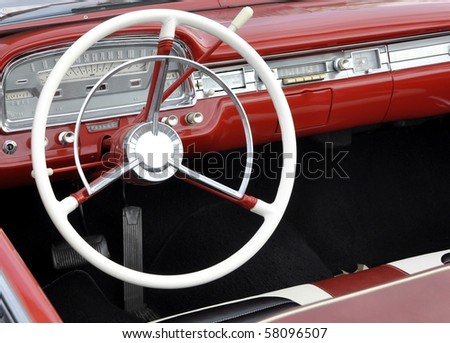 dashboard of a vintage Automobile - stock photo