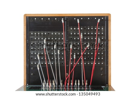 Dashboard of an old telephone switchboard - stock photo
