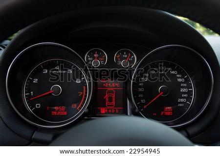 dashboard on sports car - stock photo