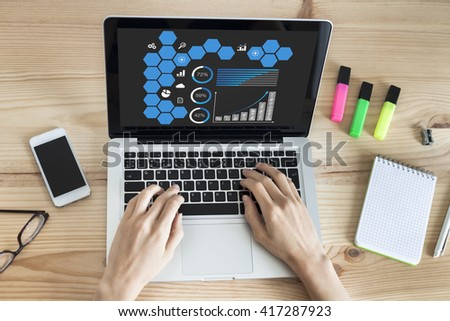 Dashboard page on the screen of a laptop computer with female hands typing in office - stock photo