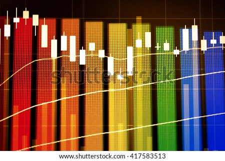 Data analyzing from charts and graph to find out the result in trading market. Working set for analyzing financial statistics and analyzing a market data. - stock photo