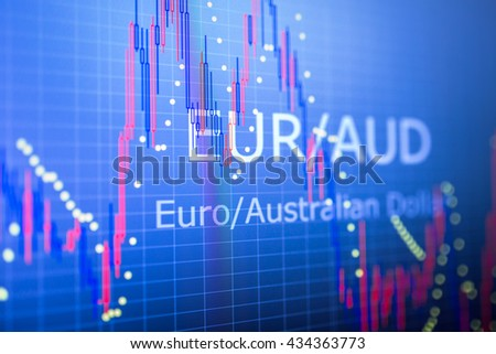 Data analyzing in foreign finance market: the charts and quotes on display. Analytics in pairs EUR / AUD - stock photo