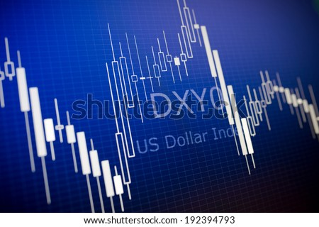 Data analyzing in foreign market: the charts and quotes on display. Analytics  U.S. dollar index DXYO. - stock photo