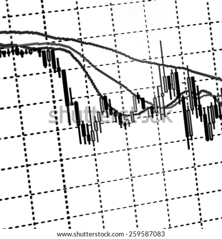 Data analyzing in forex market: the charts and quotes on display. Analytics U.S. dollar. - stock photo