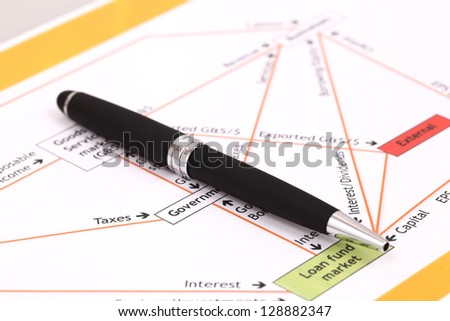 Data analyzing in stock market on the quotes prints, and a pen - stock photo