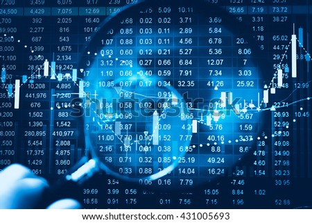 Data analyzing in trading market. Working set for analyzing financial statistics and analyzing a market data. Data analyzing from charts and graph to find out the result. - stock photo