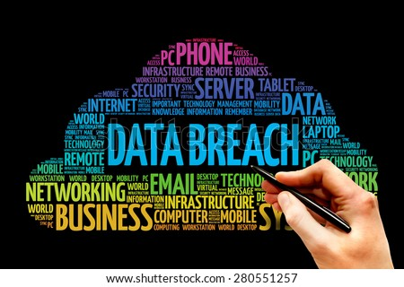 Data Breach word cloud concept - stock photo