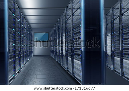 Data Center Alley with Large Wall TV. Hosting Technology Concept Illustration. - stock photo