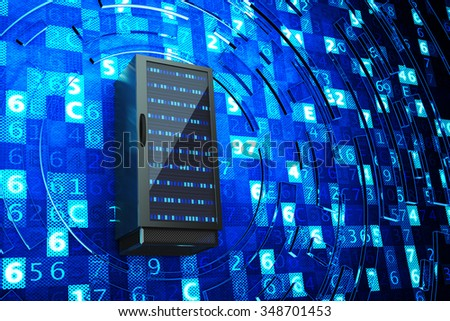 Data center, network server, internet hosting and computer technology concept, server rack on blue background with digital code - stock photo