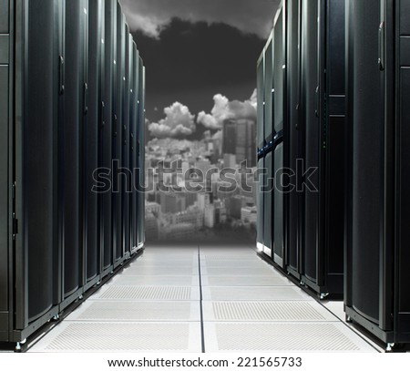Data center over the technology city  - stock photo