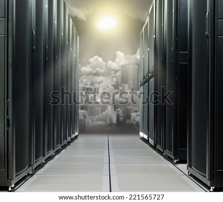 Data center over the technology city in direct sun - stock photo