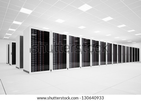 Data Center with long row of servers angular view - stock photo