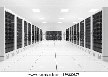 Data center with two rows of computers in white room - stock photo