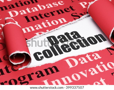 Data concept: black text Data Collection under the curled piece of Red torn paper with  Tag Cloud, 3D rendering - stock photo